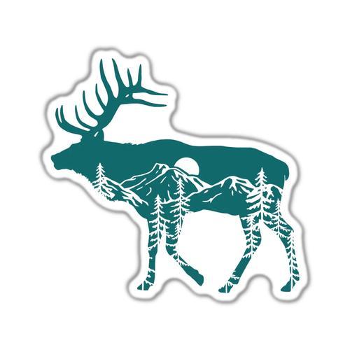 Stickers Northwest Elk Scene Sticker