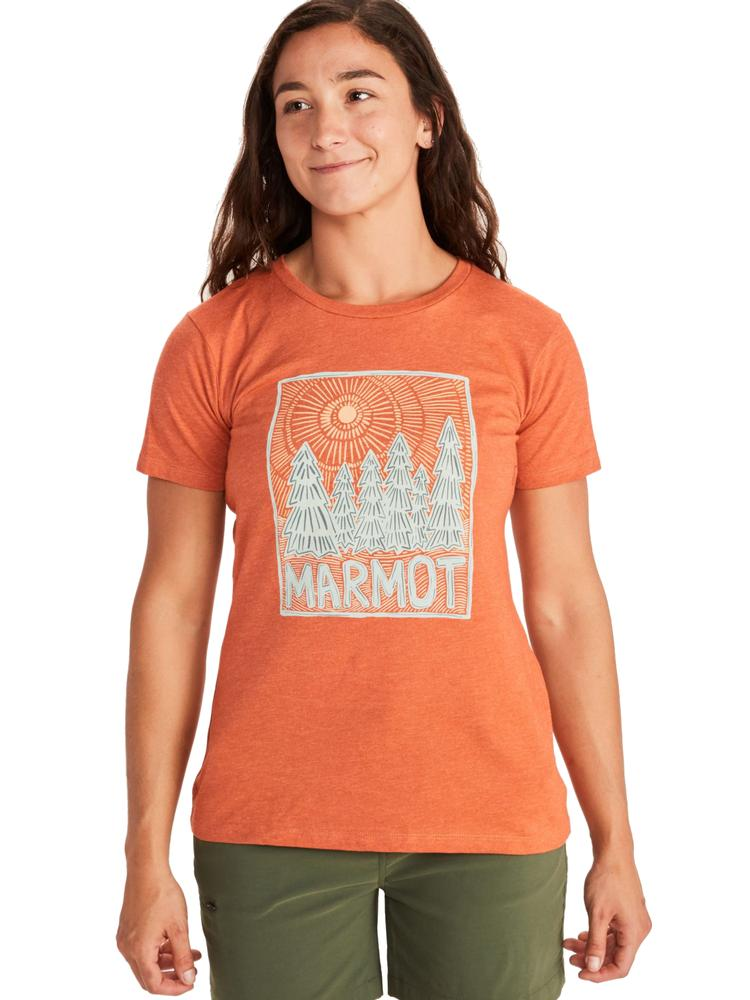 Marmot Women's Woodblock Graphic Tee AMBER_HEATHER