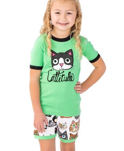 Lazy One Kids' Cattitude Pajama Shorts Set