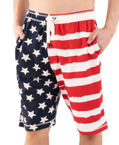 Lazy One Men's Stars and Stripes Pajama Shorts