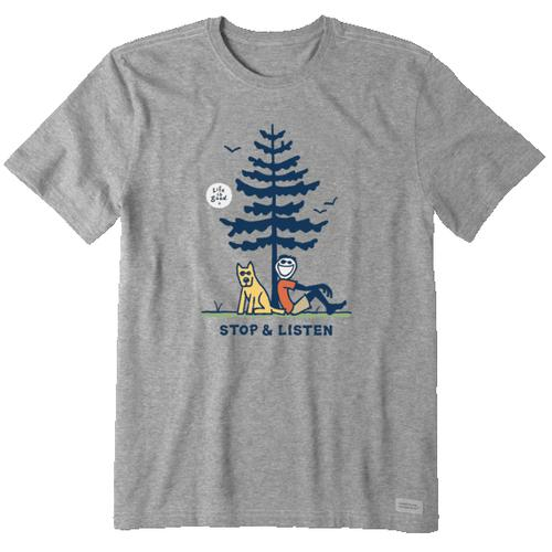 Life Is Good Men's Jake and Rocket Stop and Listen Crusher Tee