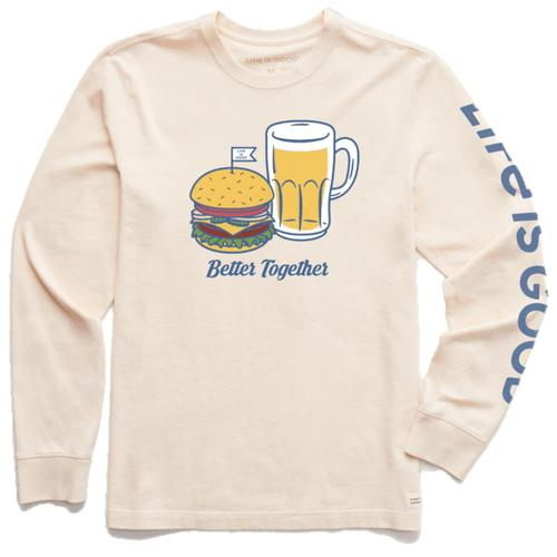 Life Is Good Men's Long Sleeve Better Together Burger and Beer Crusher-Lite Tee
