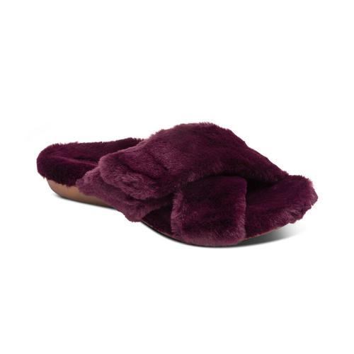 Aetrex Women's Penelope Adjustable Faux Fur Slipper in Wine