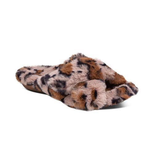 Aetrex Women's Penelope Adjustable Faux Fur Slipper in Leopard Print